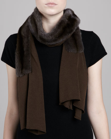 Mink Fur-Paneled Knit Scarf, Cocoa