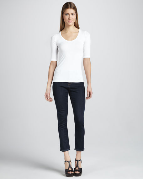 Abby-Skinny Cupro Luxe Cropped Jeans