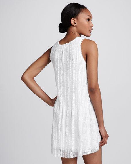 Tone-on-Tone Striped Lace Dress