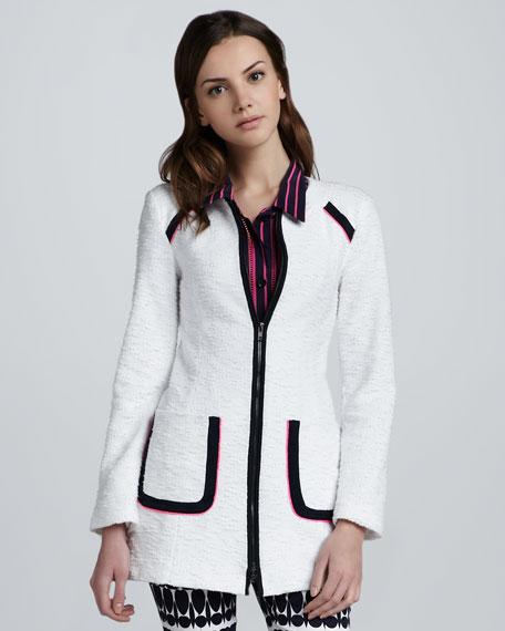 Long Collarless Tweed Coat, White/Navy
