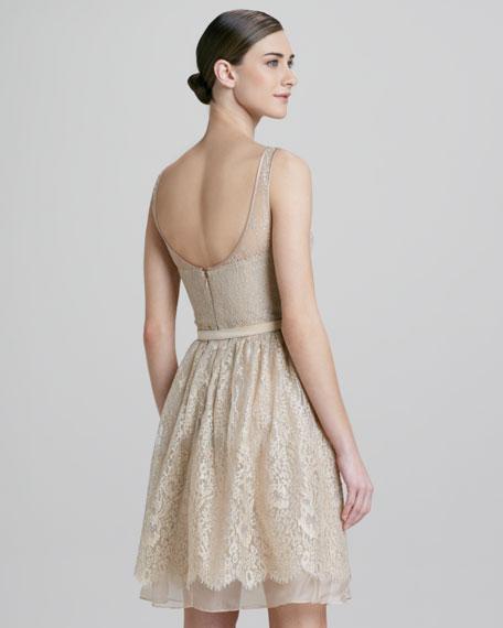 Metallic Lace Illusion Party Dress