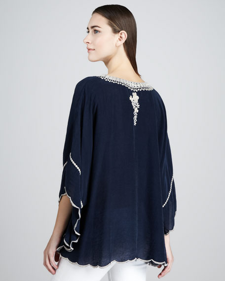 Embroidered Georgette Poncho Tunic, Women's