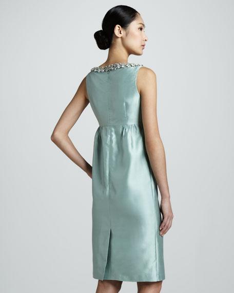 Gina Beaded Silk-Cotton Dress