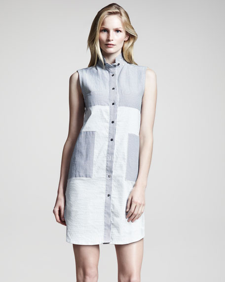 Sleeveless Seersucker Shirtdress