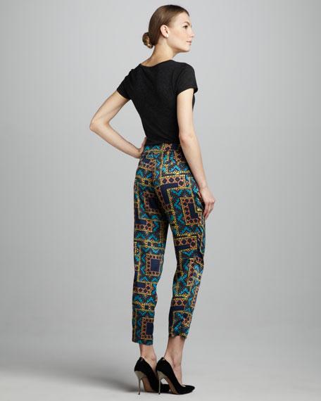 Tribal-Print Cropped Pants