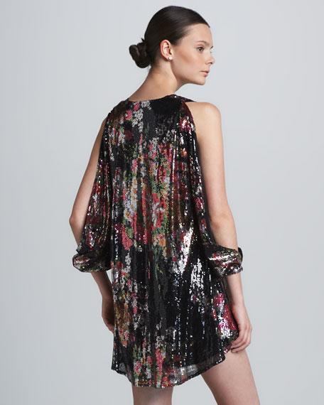 Gracie Slit-Sleeve Sequined Dress