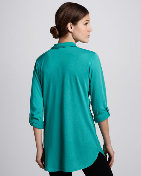 Long Two-Pocket Blouse, Turquoise