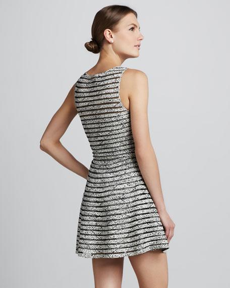 Mesh-Stripe Ribbed Dress