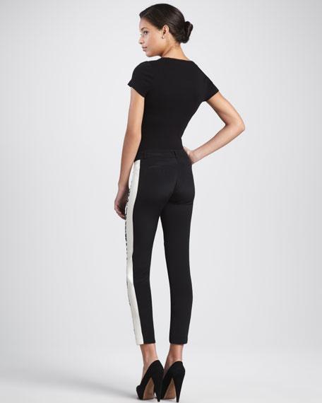 Printed Cropped Slim Pants