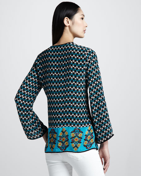 Monica Border-Print Silk Tunic