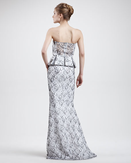 Penelope Strapless Peplum Gown