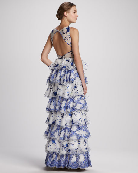 Dahlia Tiered Lace Gown