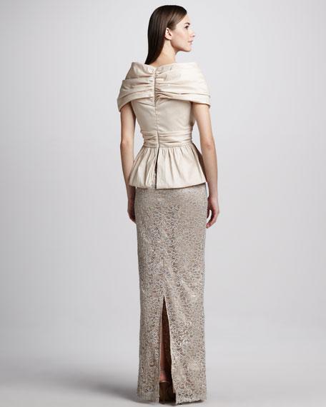 Portrait-Collar Combo Peplum Gown