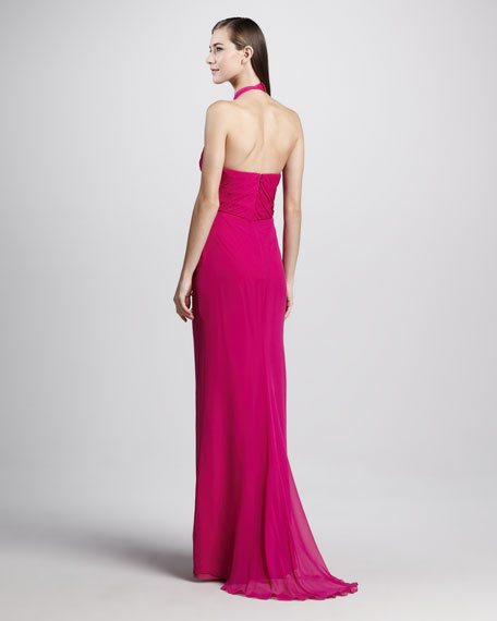 Draped Silk Halter Gown
