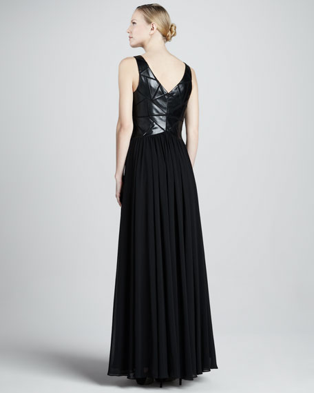 Pieced-Leather Bodice Gown