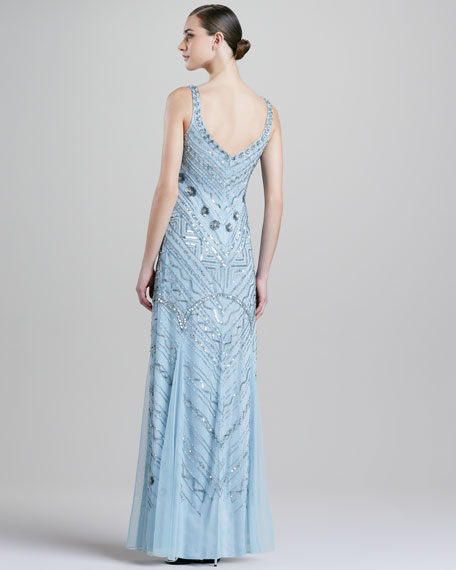 Beaded Scoop-Neck Chiffon Gown