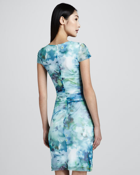 Printed Dress with Ruching