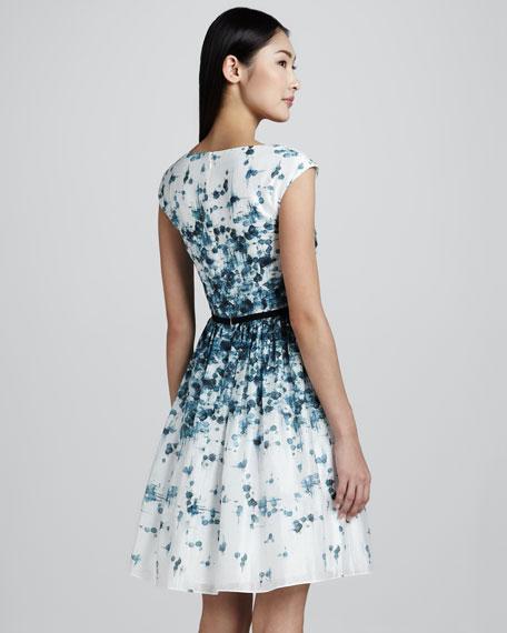 Cap-Sleeve Printed Dress