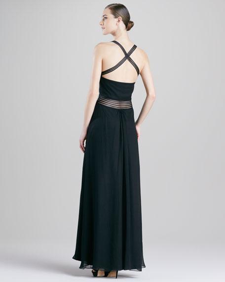 Cross-Waist Chiffon Gown