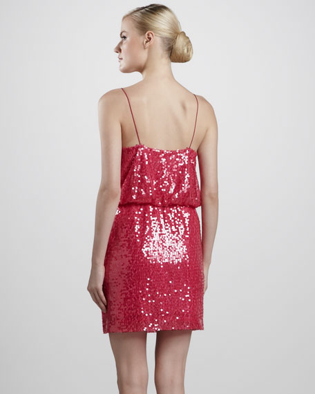 Sequined Blouson Cocktail Dress