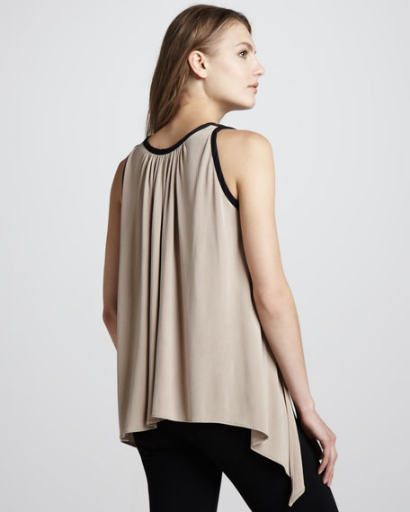 Leather-Top Loose Tank