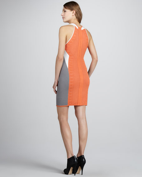 Three-Tone Knit Halter Dress