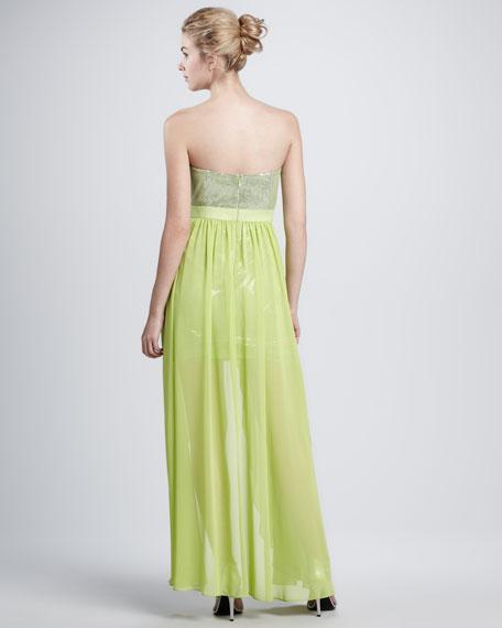 Chiffon-Skirt Sequined Cocktail Dress