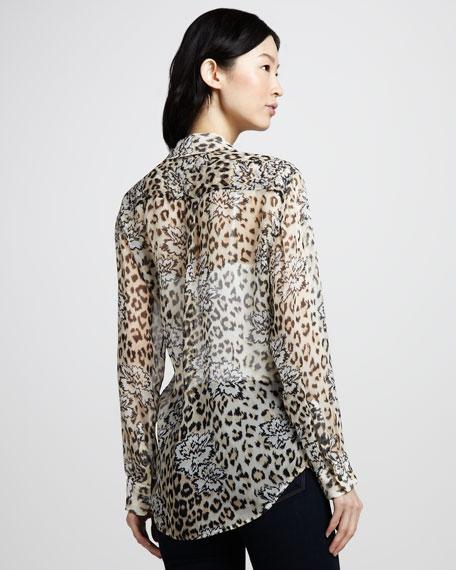 Leopard-Floral Print Silk Top