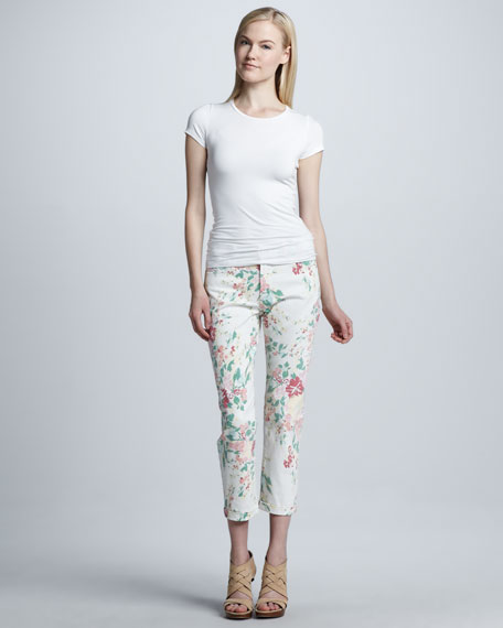 Painted Bouquet Kendall Cuffed Ankle Pants, Petite