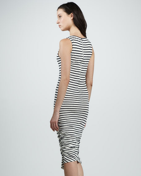 Ruched Striped Tank Dress