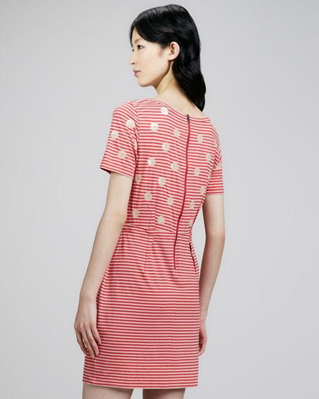 Willa Dotted Striped Dress, Peanut Brittle