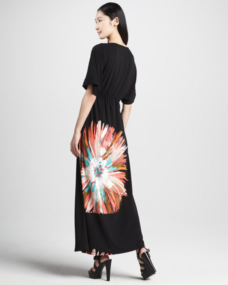 Long Belted Floral Maxi Dress, Women's