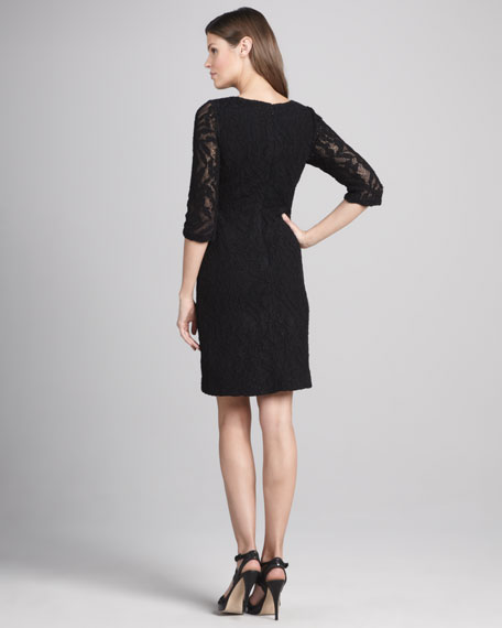 Shift-Style Dress with Lace Overlay