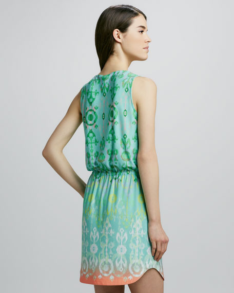 Sleeveless Ikat-Print Dress