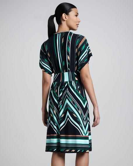 V-Neck Knee-Length Print Dress