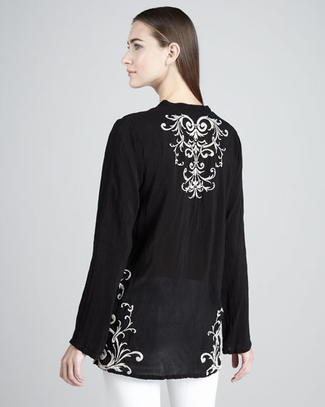 Marion Embroidered Georgette Tunic, Women's