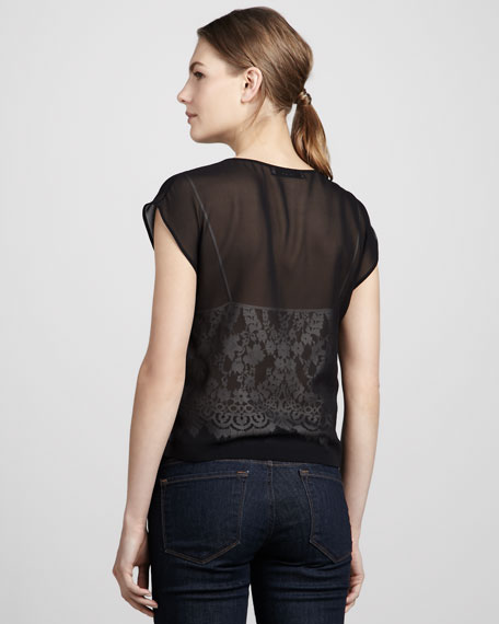 Illusion Lace Cap-Sleeve Top