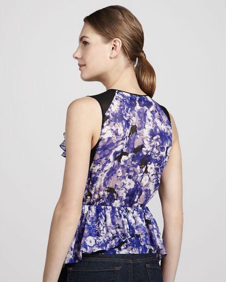Floral-Print Silk Panel Top