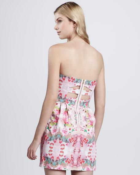 Floral-Print Strapless Dress