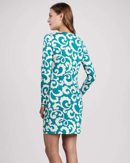 Reina Silk Jersey Long-Sleeve Dress
