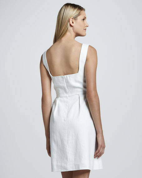 lydia linen-blend button dress