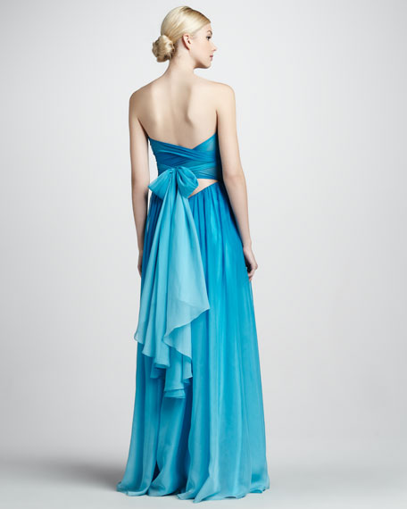 Strapless Tie-Back Gown