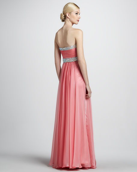 Strapless Gown with Beaded Detail