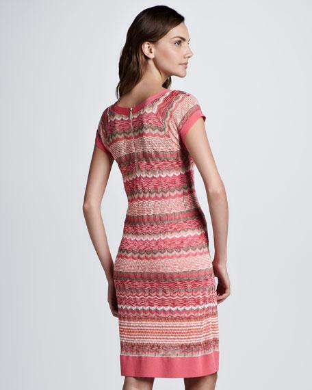 Zigzag-Stripe Short-Sleeve Dress