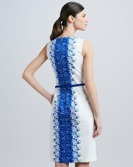 Sleeveless Print-Panel Belted Dress