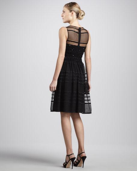 Sheer Sleeveless Overlay Cocktail Dress