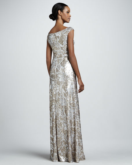 Sequined Lace Cap-Sleeve Gown