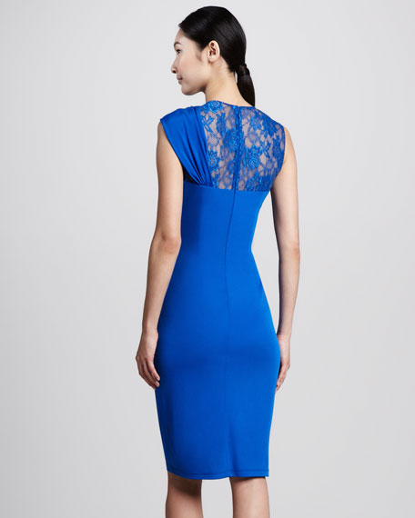 Wrapped Lace-Bodice Cocktail Dress