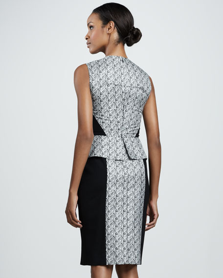 Jacquard Panel Peplum Dress