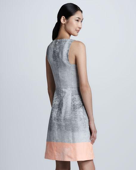 Ombre Taffeta V-Neck Dress
